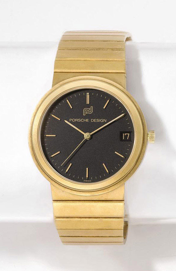 PORSCHE DESIGN  YELLOW GOLD QUARTZ BRACELET WATCH WITH DATE DISPLAY
