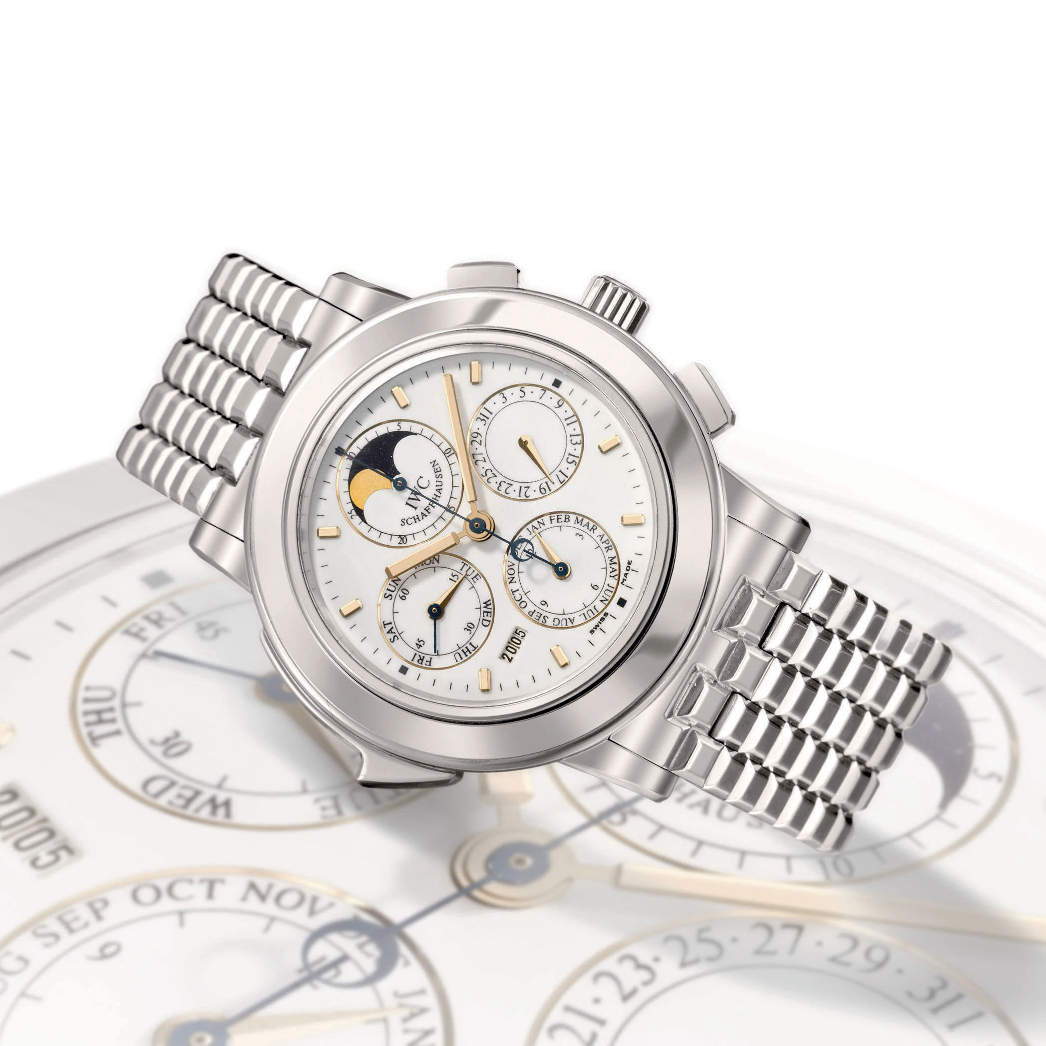 IWC, GRANDE COMPLICATION  PLATINUM AUTOMATIC PERPETUAL CALENDAR MINUTE REPEATING CHRONOGRAPH WRISTWATCH WITH MOON PHASE DISPLAY AND BRACELET, LIMITED EDITION OF 50