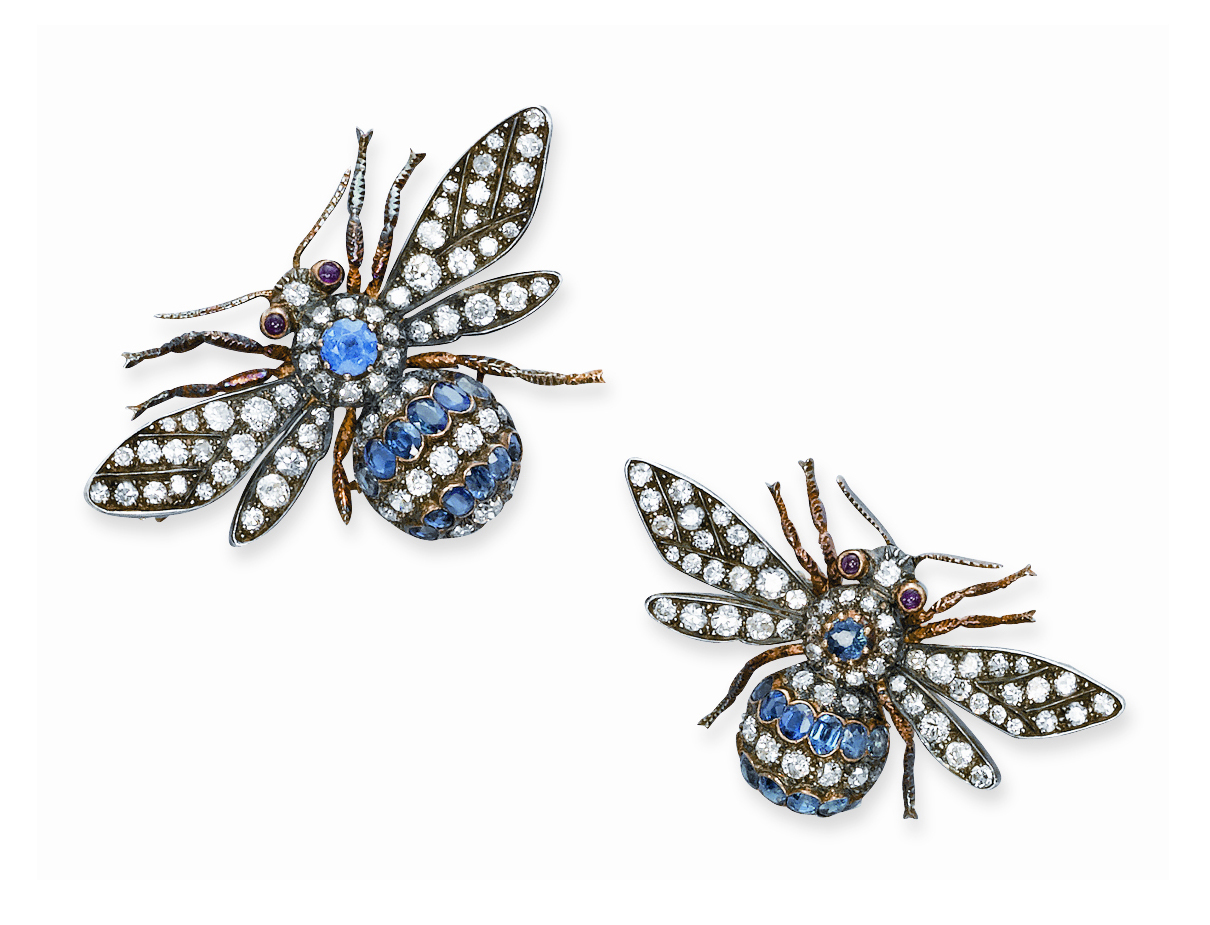TWO ANTIQUE DIAMOND AND SAPPHIRE BEE BROOCHES