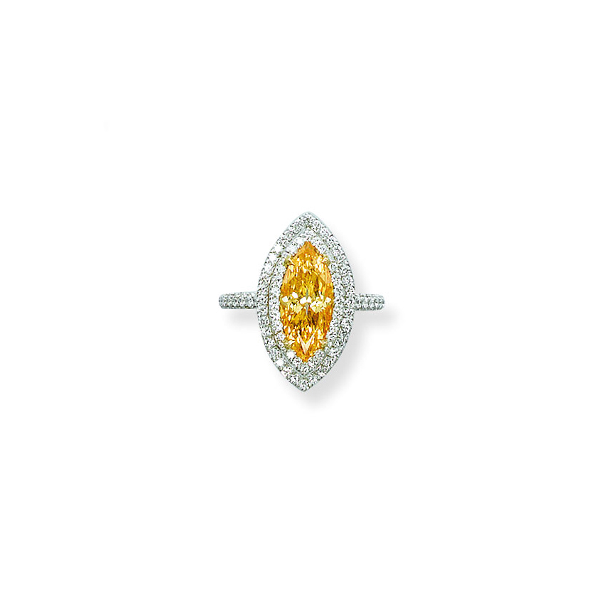 A COLOURED DIAMOND RING, BY ADLER