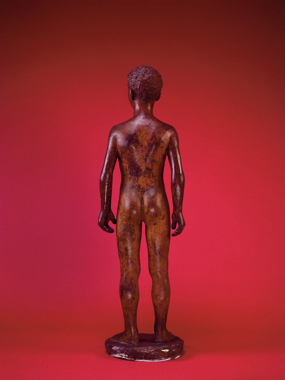 Back View of Karl Geiser: Nude Boy Standing (Three Times), 2010