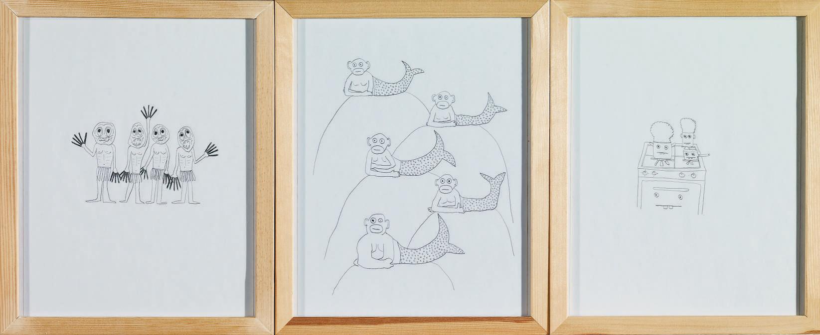 Drei Zeichnungen, 2007 (Gorka, Meerjungfrauen, Pasta)