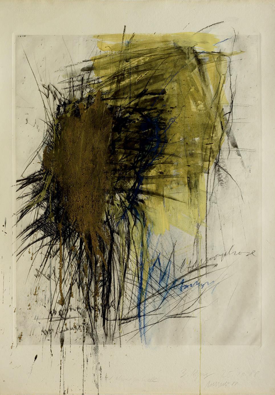 Kaltnadel überarbeitet mit Erde III, 1988