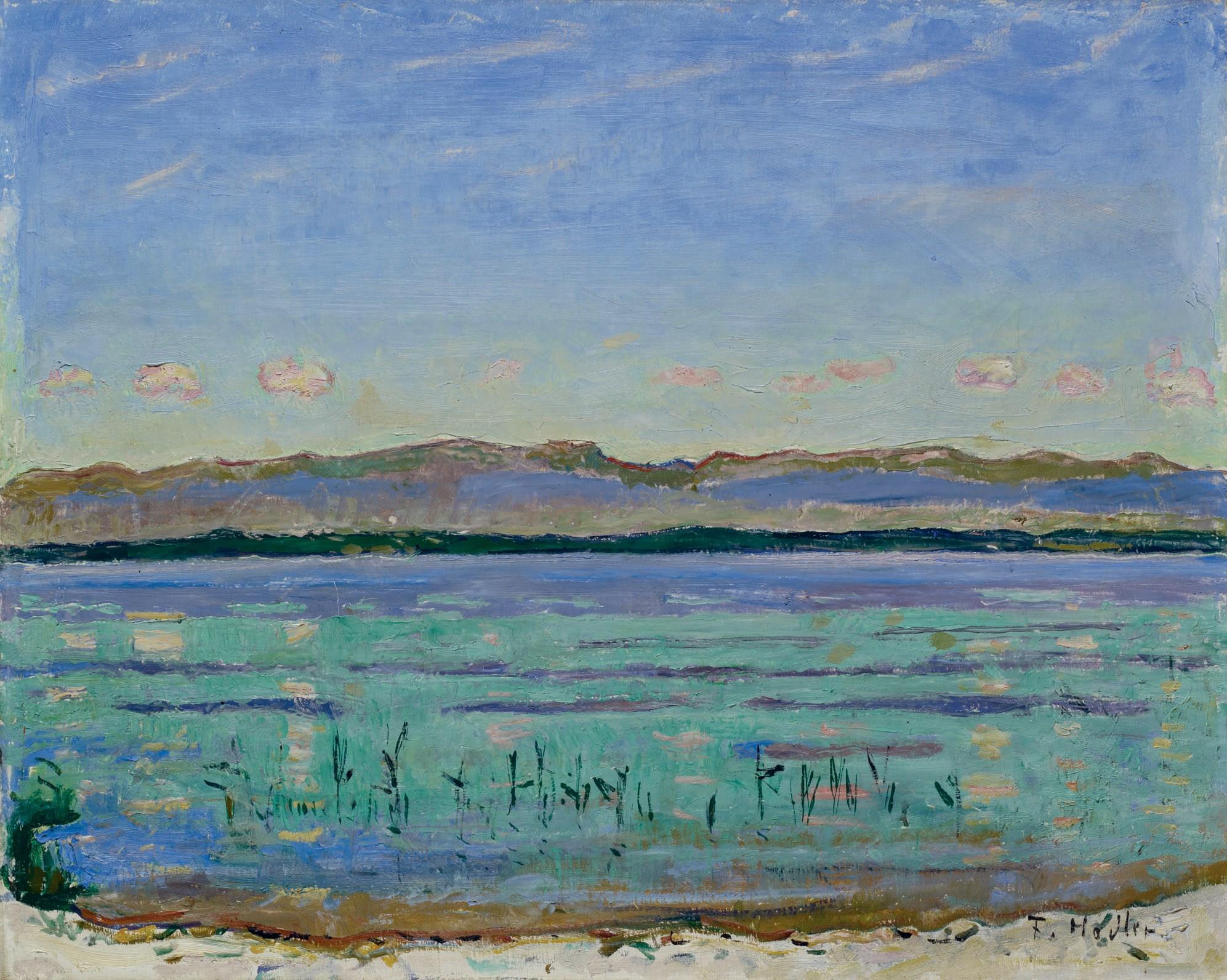 费迪南德·霍德勒,《日内瓦湖和侏罗山,1911年》,45.5 x 56.5公分。2010年6月7日在佳士得于苏黎世美术馆举办的拍卖会上以2,640,000瑞郎成交。