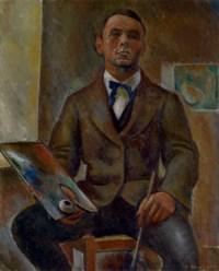 Autoportrait assis à la palette et au pinceau, 1916