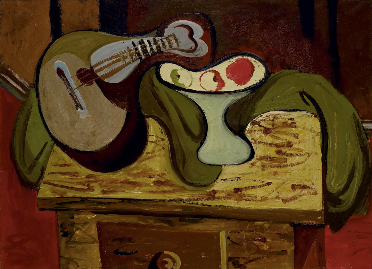 Stillleben mit Mandoline und Apfelschale