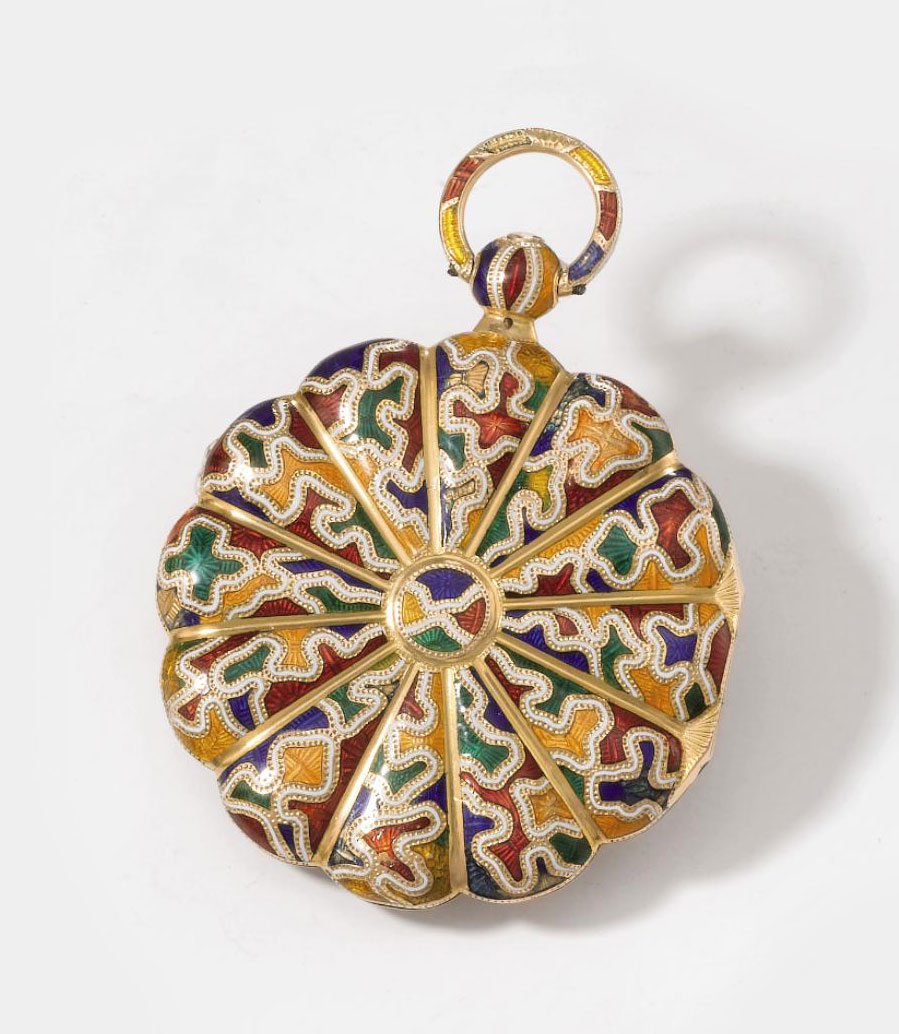 Moynier & Fils. An unusual and attractive 18K gold and polychrome enamel scalloped openface cylinder watch, the enamel in hispano-moresque style, made for the Spanish Market