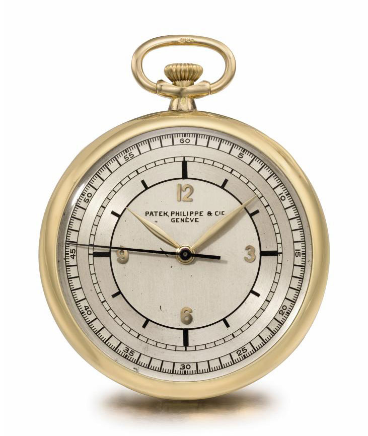 Patek Philippe. A fine, rare and unusual 18K gold openface keyless lever watch with sweep centre seconds and sector dial
