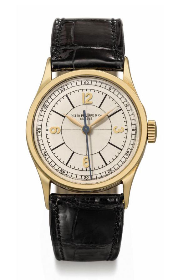 Patek Philippe. A fine and rare 18K gold wristwatch with indirect sweep centre seconds and sector dial