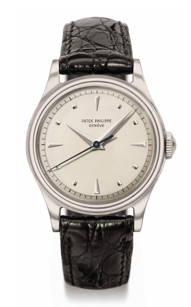 Patek Philippe. A fine and rare stainless steel wristwatch with sweep centre seconds