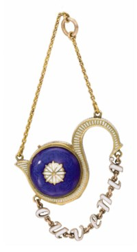 Swiss. A rare and attractive 18K gold and enamel s-form pendant watch