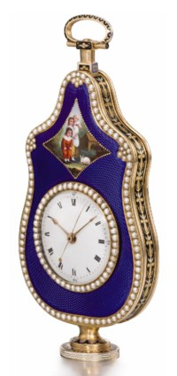 Attributed to Jaquet Droz et Leschot. An extremely fine and possibly unique 18K gold, enamel and pearl-set centre seconds urn-form cylinder watch made for the Chinese market, enamel in the manner of Jean-Louis Richter