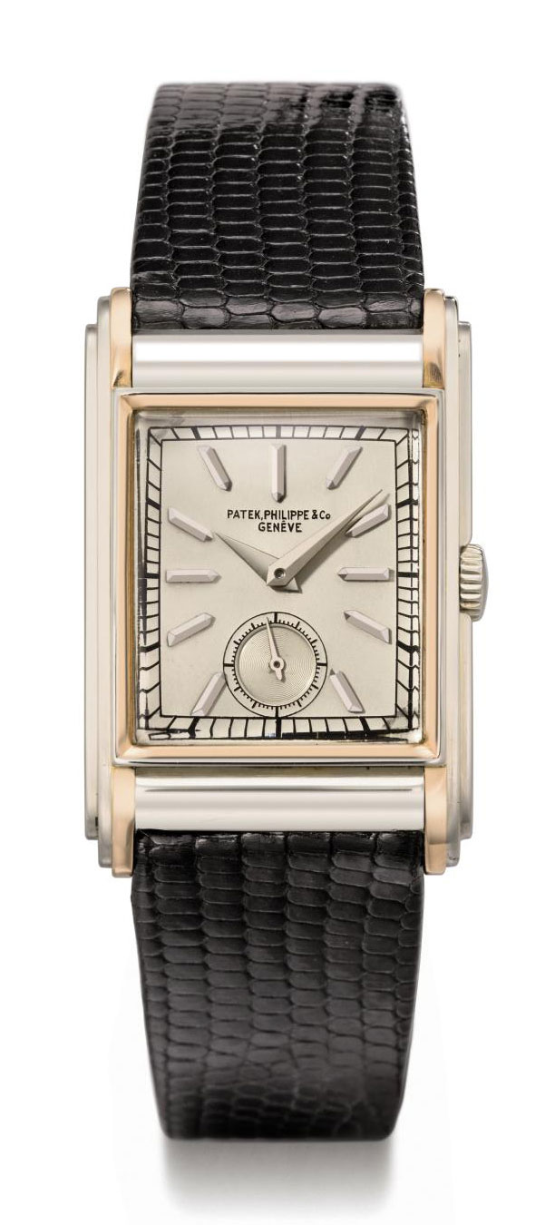 Patek Philippe. A fine, rare and attractive 18K white and pink gold rectangular wristwatch with triple stepped sides