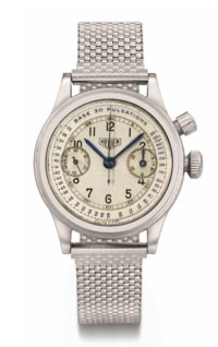 Heuer. A rare stainless steel single button chronograph wristwatch with pulsometre and two-tone silvered dial