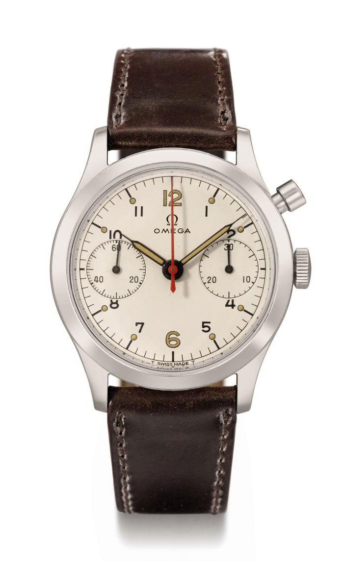 Omega. A rare stainless steel single button chronograph wristwatch with hack feature and white dial, made for the Royal Canadian Air Force