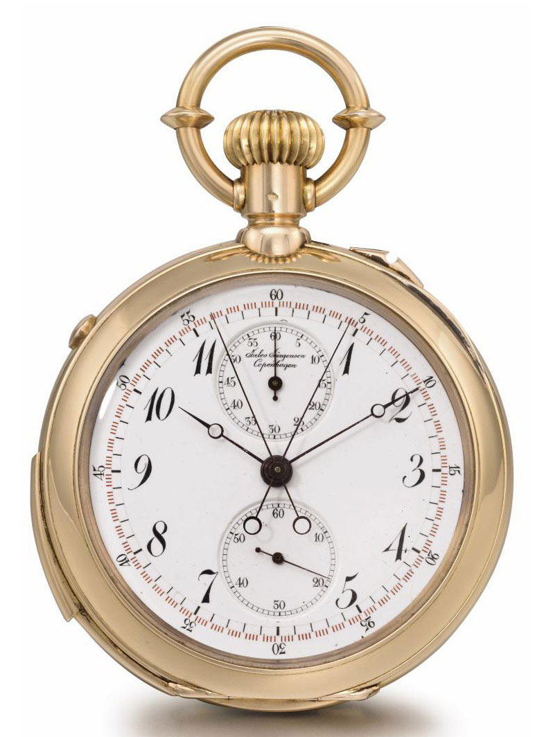 Jules Jürgensen. A fine and rare 18K pink gold openface minute repeating split seconds chronograph keyless lever watch