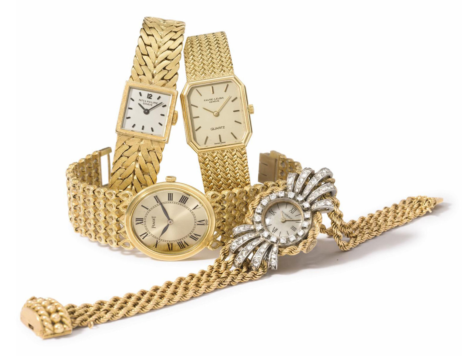 Patek Philippe, Piaget, Favre-Leuba. A lot of three lady's 18K gold wristwatches with bracelets and one lady's 18K gold, platinum and diamond-set wristwatch with bracelet