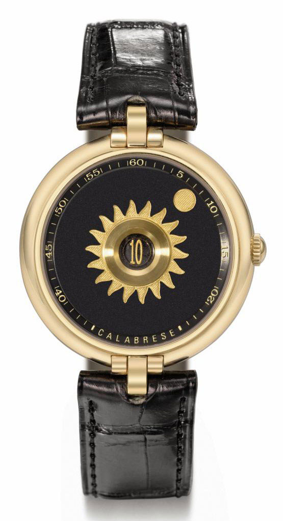 Vincent Calabrese. An unusual 18K gold automatic jump hour wristwatch