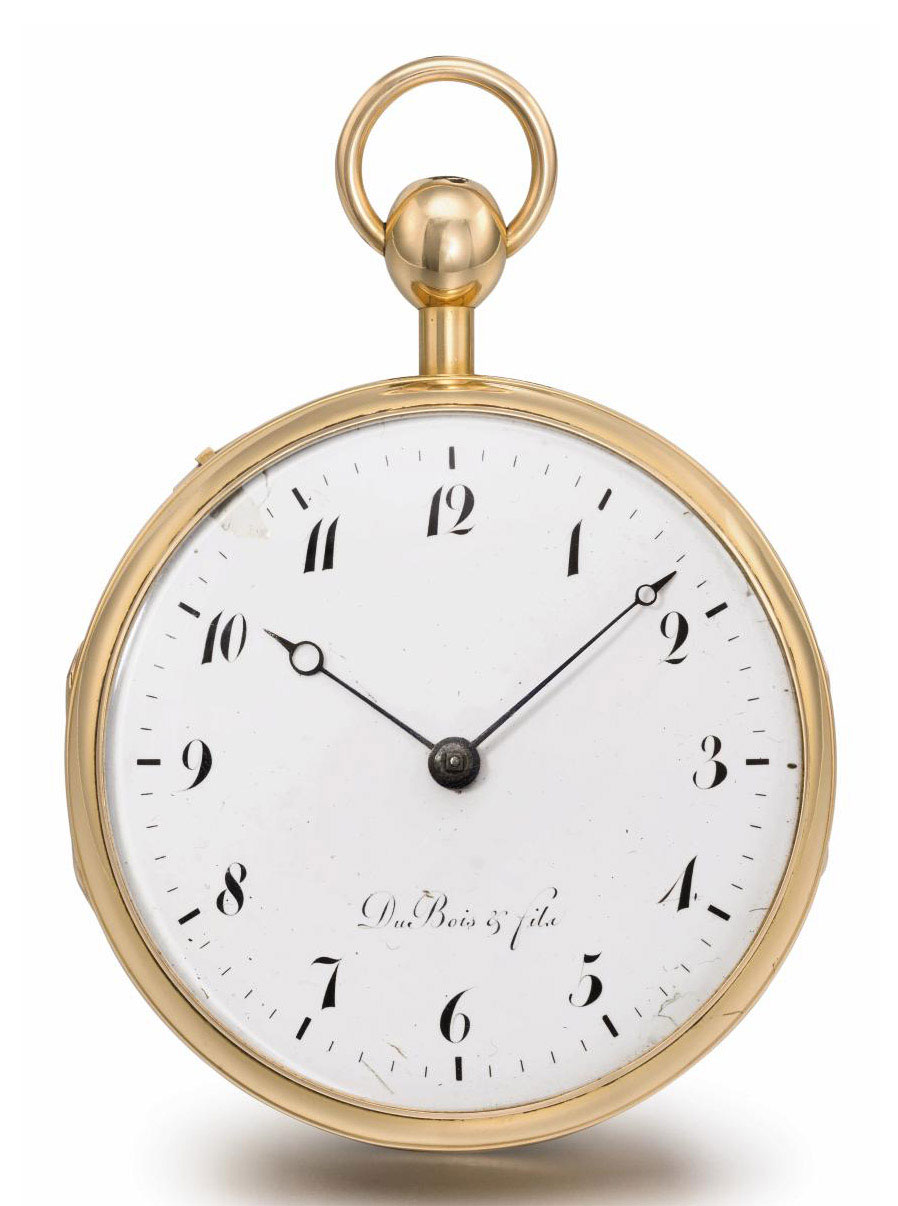"Du Bois & Fils. A fine and rare 18K pink gold openface ""perpetuelle"" quarter repeating watch"