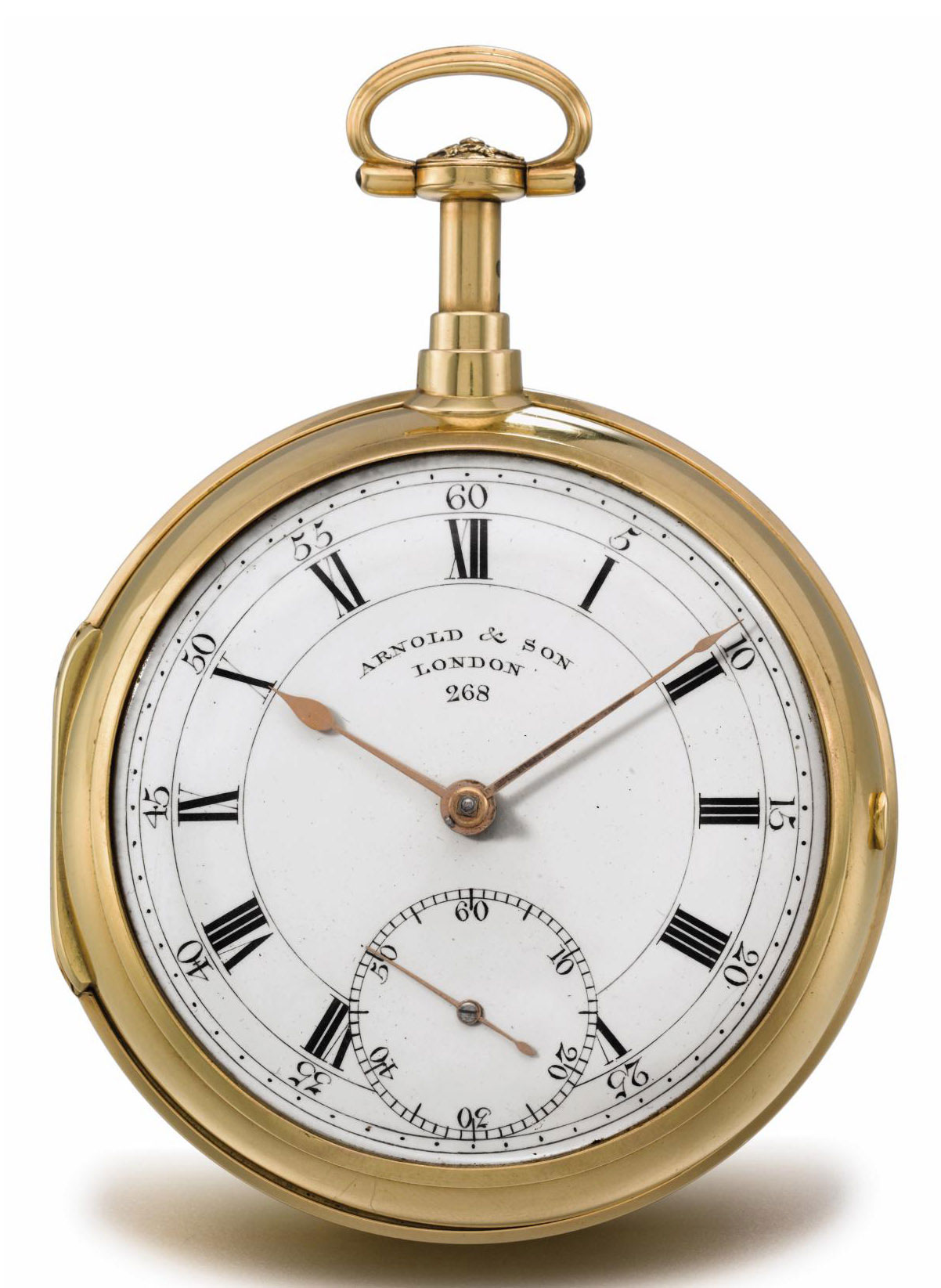 Arnold. A very fine and rare 18K gold openface half quarter repeating pocket chronometer