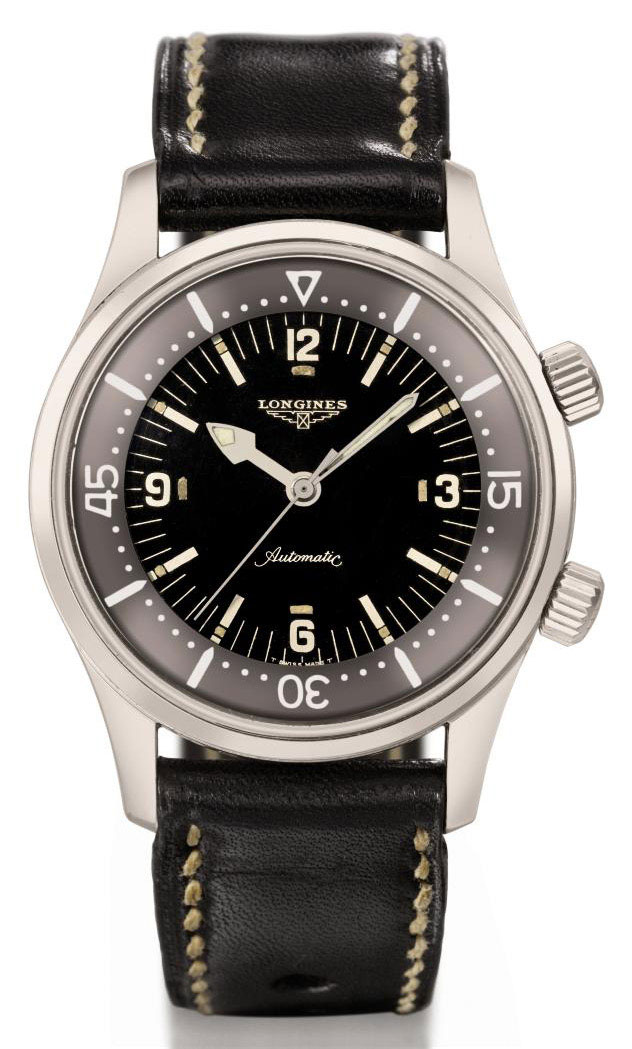 Longines. A large stainless steel automatic diver's wristwatch with sweep centre seconds and black dial