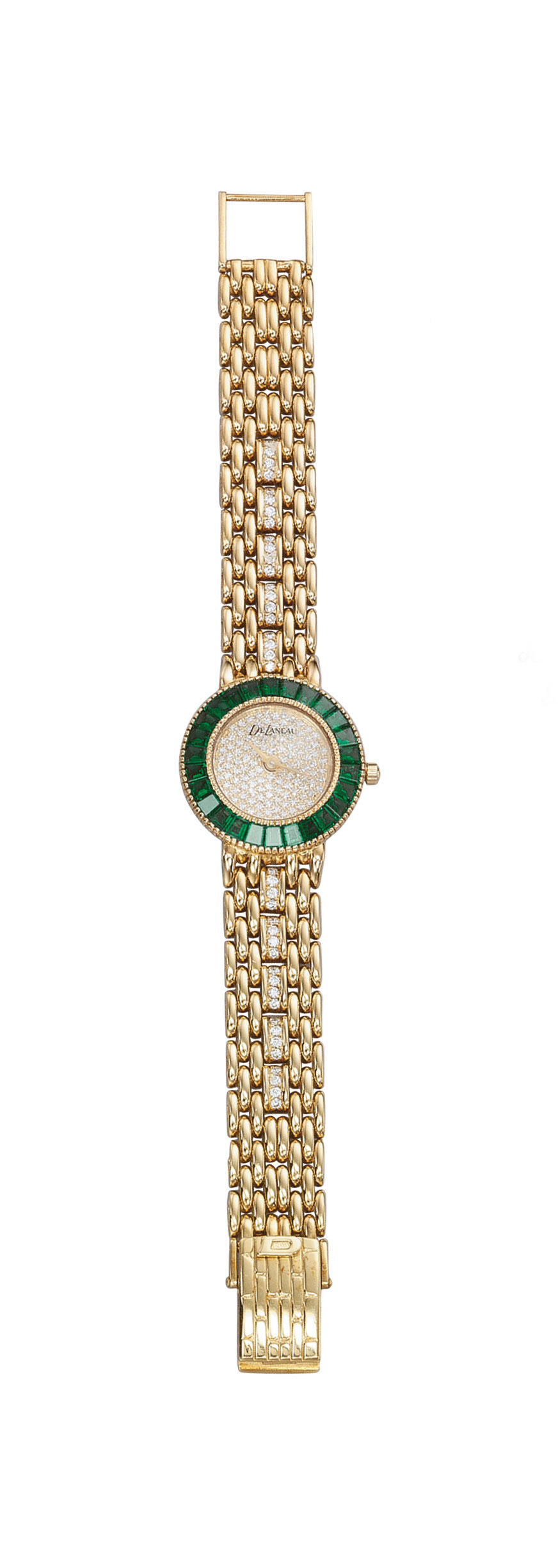 A LADY'S EMERALD AND DIAMOND WRISTWATCH, BY DELANEAU