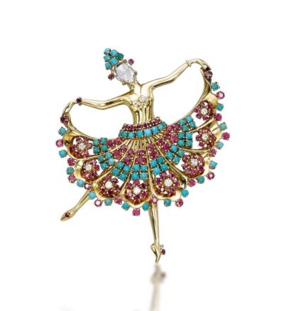 A MULTI-GEM BALLERINA BROOCH,