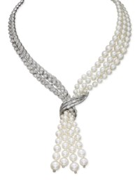 A CULTURED PEARL AND DIAMOND NECKLACE, BY STERLÉ