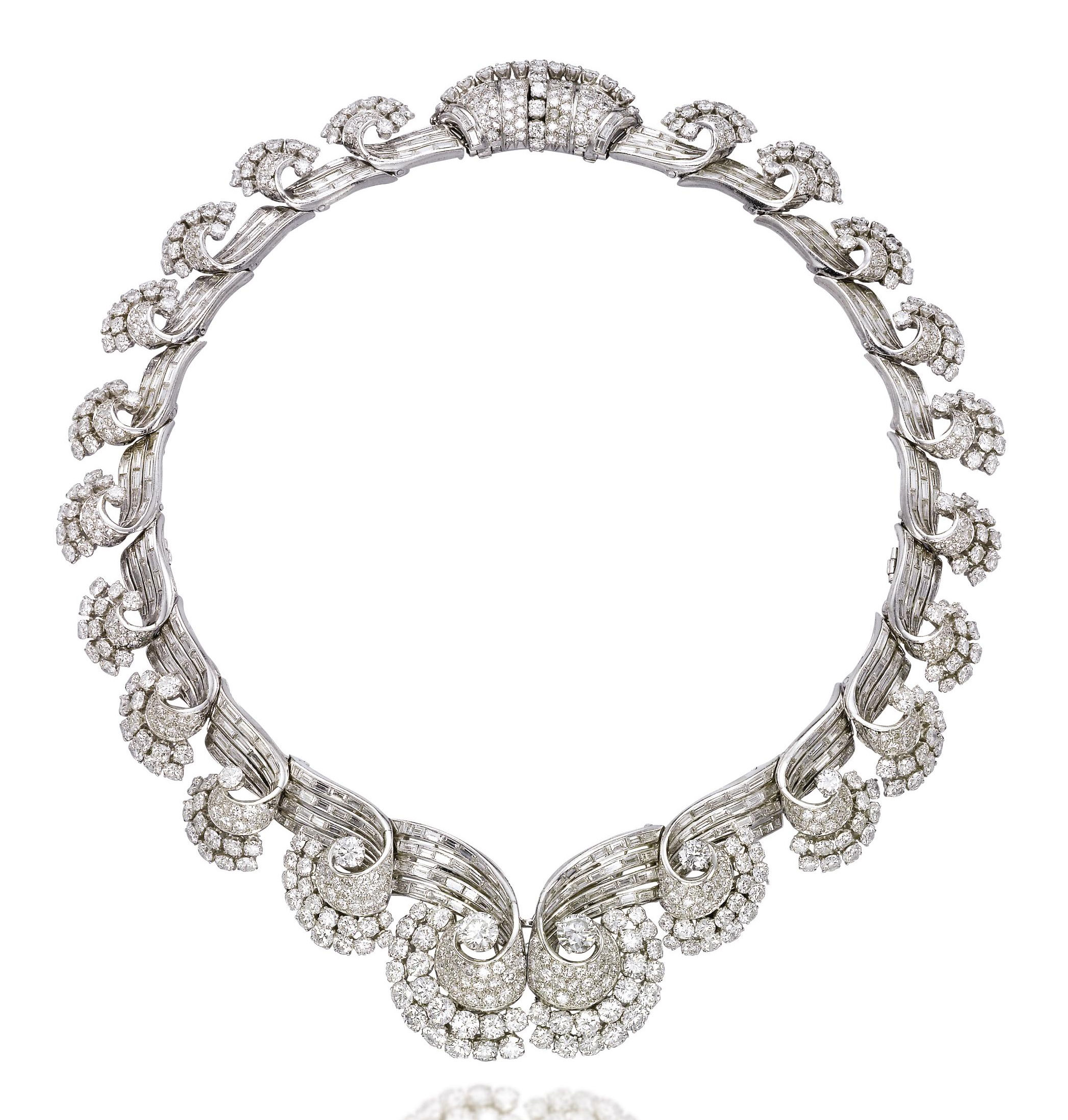 AN ART DECO DIAMOND NECKLACE, BY RENÉ BOIVIN