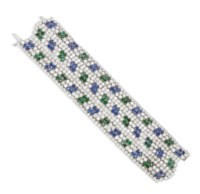 A SAPPHIRE, EMERALD AND DIAMOND BRACELET, BY DAVID WEBB