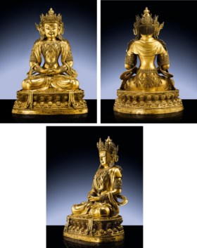 A MAGNIFICENT AND HIGHLY IMPORTANT IMPERIAL EARLY MING GILT-