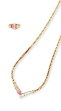 A SET OF CONCH PEARL AND DIAMOND JEWELLERY, BY MIKIMOTO