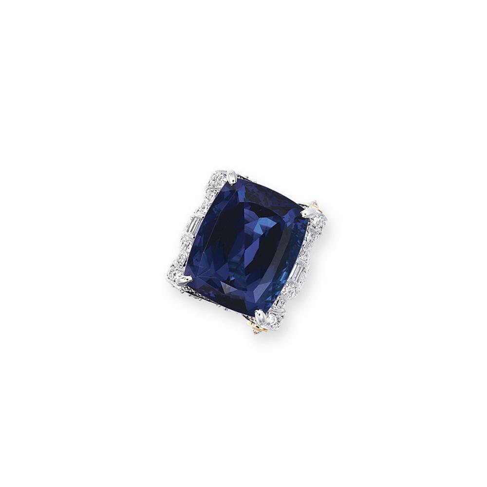 A TANZANITE AND DIAMOND RING, BY MITSUO KAJI