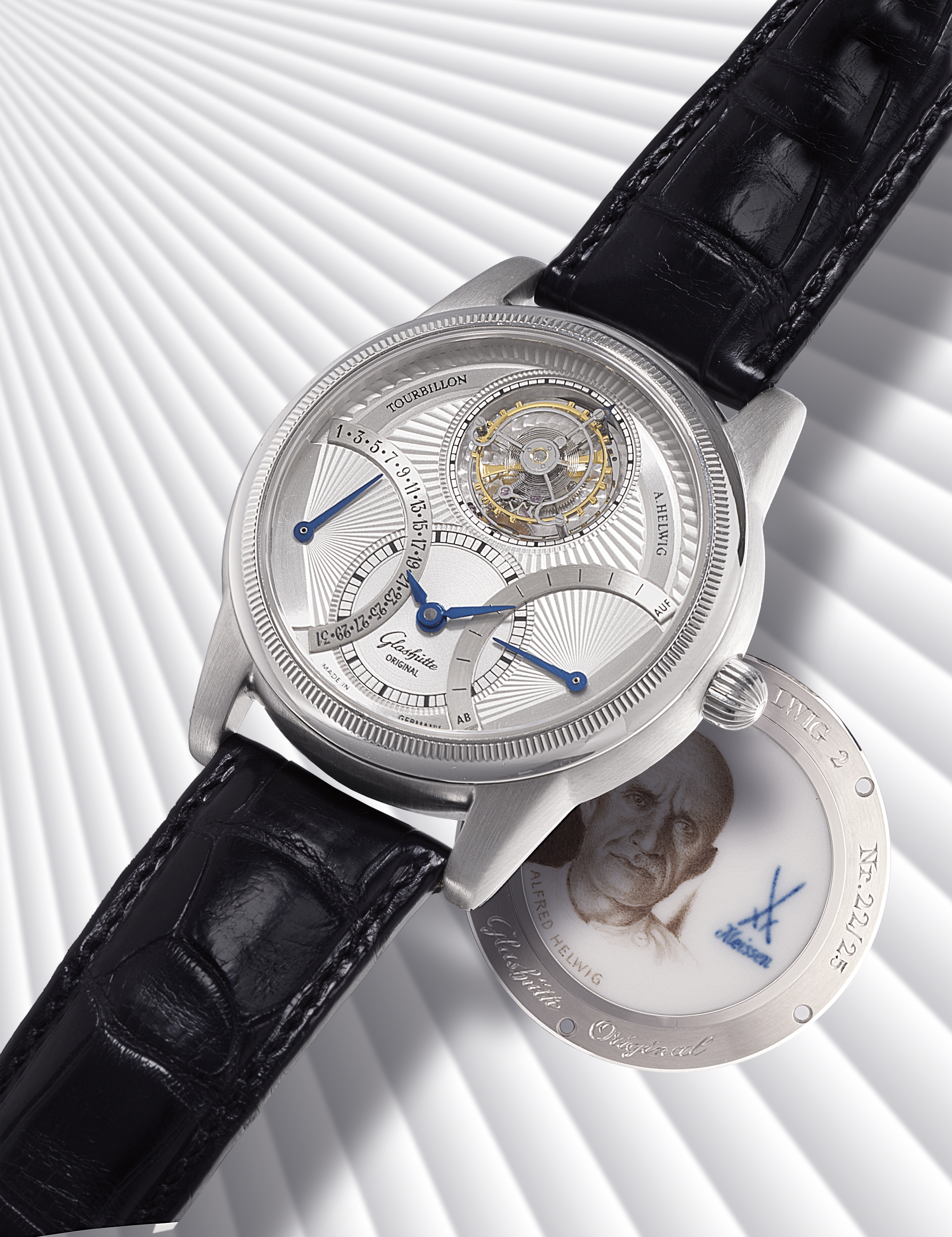 GLASHÜTTE ORIGINAL, TOURBILLON ALFRED HELWIG 2  PLATINUM MANUALLY-WOUND FLYING TOURBILLON WRISTWATCH WITH RETROGRADE DATE AND POWER RESERVE INDICATION, LIMITED EDITION OF 25