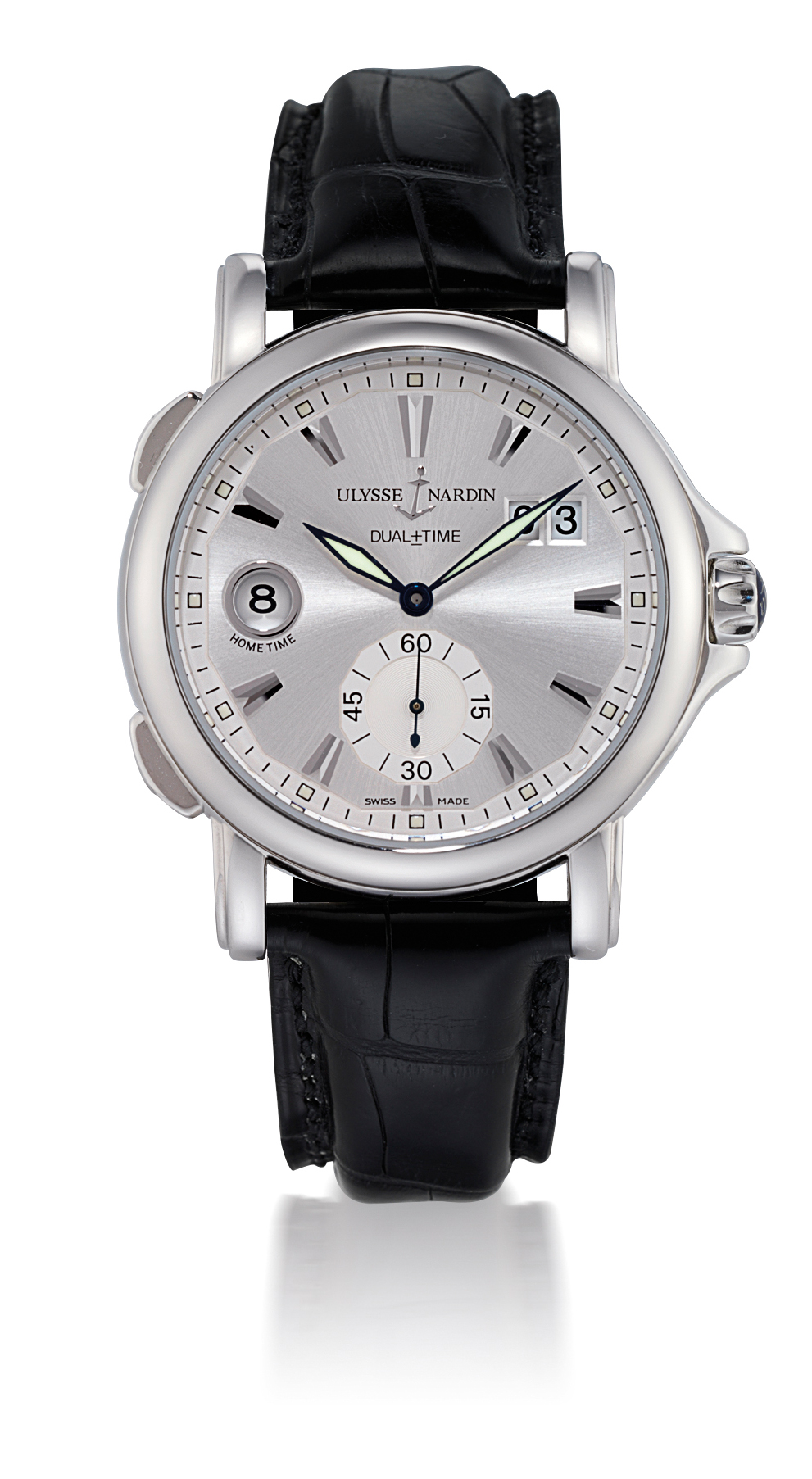 ULYSSE NARDIN, GMT BIG DATE  STAINLESS STEEL AUTOMATIC DUAL TIME ZONE WRISTWATCH WITH DATE DISPLAY