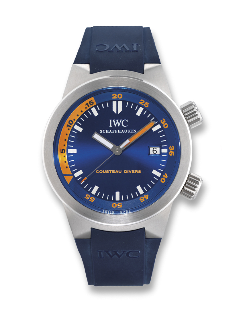 IWC, AQUATIMER COUSTEAU DIVERS  STAINLESS STEEL AUTOMATIC WRISTWATCH WITH DATE DISPLAY