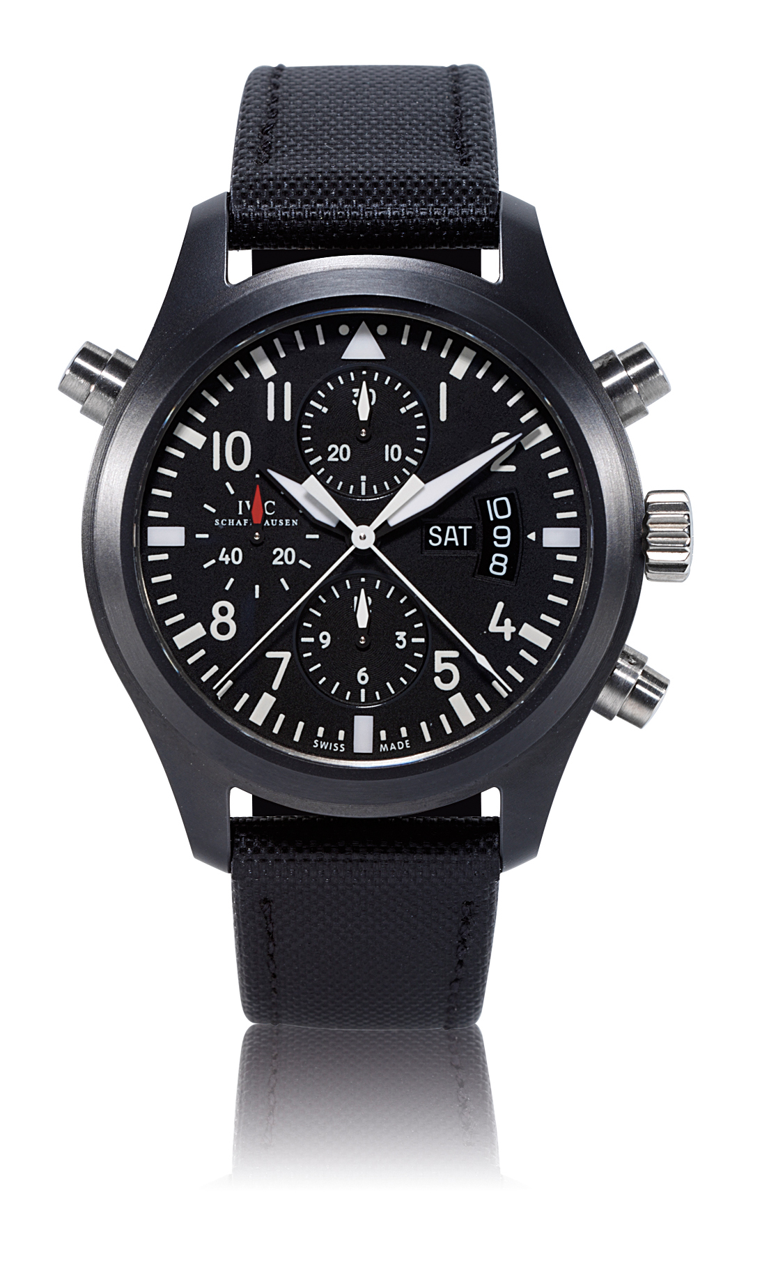 IWC, FLIEGERUHR, DOUBLE CHRONOGRAPH  BLACK CERAMIC AUTOMATIC PILOT'S SPLIT SECONDS CHRONOGRAPH WRISTWATCH WITH DAY AND DATE DISPLAY, LIMITED EDITION OF 1000