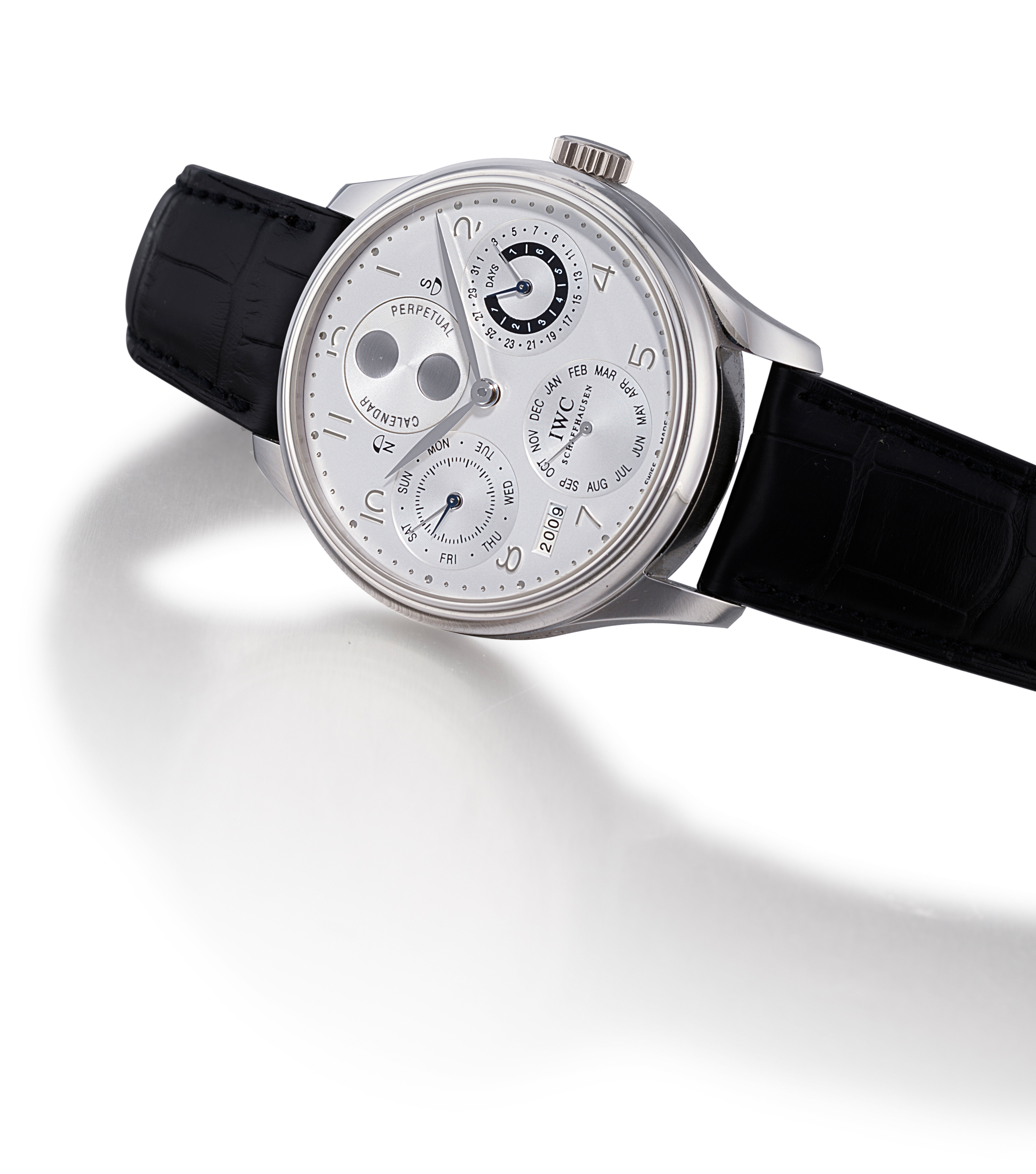 IWC, PORTUGUESE PERPETUAL  PLATINUM AUTOMATIC PERPETUAL CALENDAR 7-DAY-GOING WRISTWATCH WITH MOON PHASES AND POWER RESERVE INDICATION, LIMITED EDITION OF 250