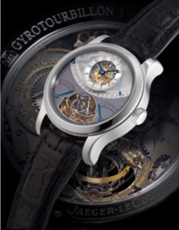 JAEGER-LECOULTRE, GYROTOURBILLON 1  PLATINUM MANUALLY-WOUND PERPETUAL CALENDAR MULTI-AXIS SPHERICAL TOURBILLON WRISTWATCH WITH RETROGRADE DAY, MONTH AND LEAP YEARS, 8-DAY POWER RESERVE INDICATION AND EQUATION OF TIME, LIMITED EDITION OF 75