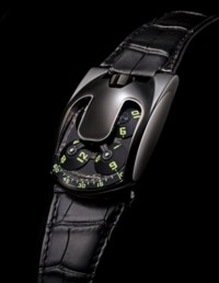 URWERK, UR-103 BLACKBIRD  PE-CVD COATED PLATINUM MANUALLY-WOUND WRISTWATCH WITH POWER RESERVE INDICATION, LIMITED EDITION OF 10