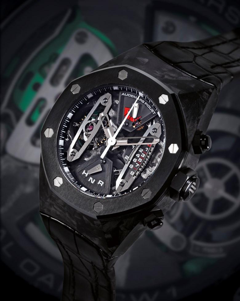 Audemars Piguet. Royal Oak Carbon Concept, c. 2008. Titanium, carbon and ceramic manually wound tourbillon chronograph wristwatch, no. 88. Sold for HK$1,580,000 on 2 June 2010 at Christie's in Hong Kong
