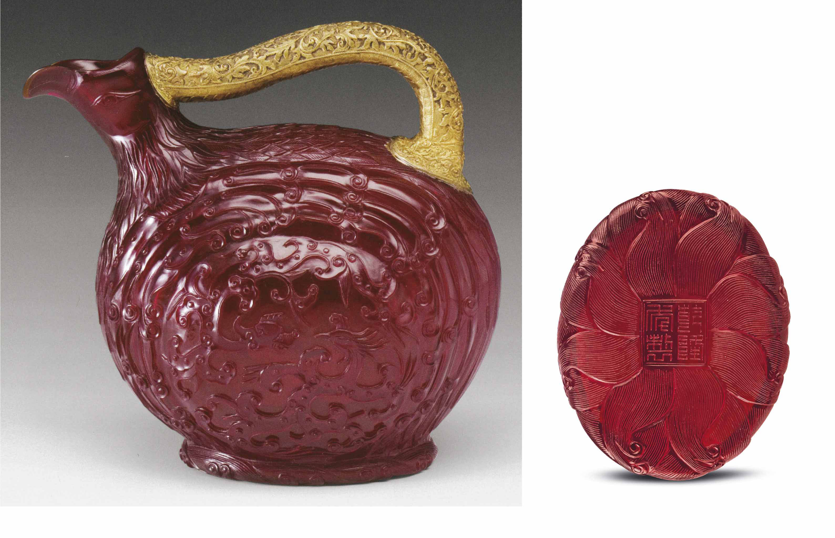 A VERY RARE IMPERIAL MOULDED AND CARVED RUBY-RED GLASS BIRD-FORM EWER
