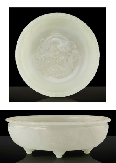 A FINELY CARVED WHITE JADE 'TW