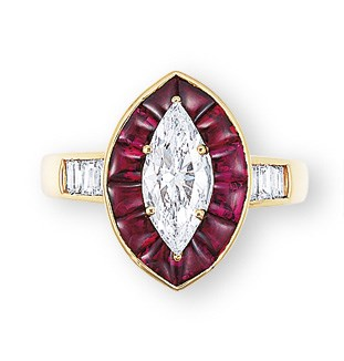 A DIAMOND AND RUBY RING, BY GR
