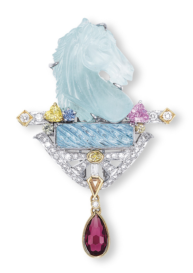 AN AQUAMARINE AND MULTI-GEM CLIP BROOCH/PENDANT, BY MITSUO KAJI