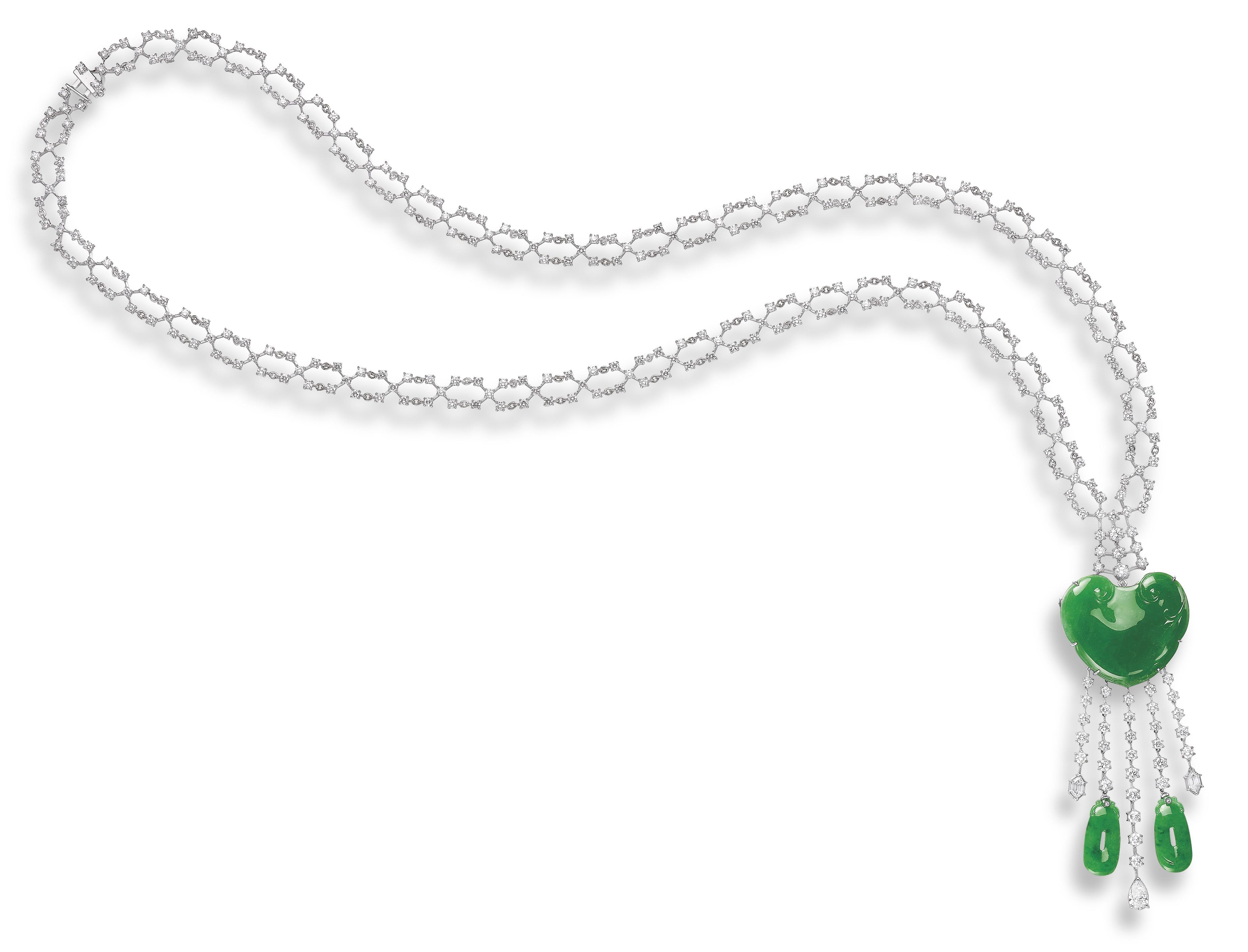 A JADEITE AND DIAMOND PENDENT NECKLACE, BY MITSUO KAJI