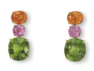 A PAIR OF PERIDOT, SPINEL AND