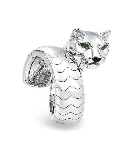A White Gold Emerald And Onyx Panth 200 Re Ring By Cartier