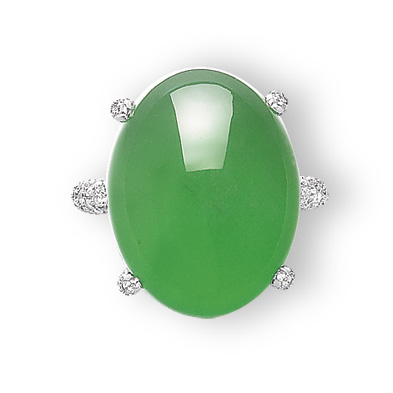 A JADEITE AND DIAMOND RING, BY GIMEL