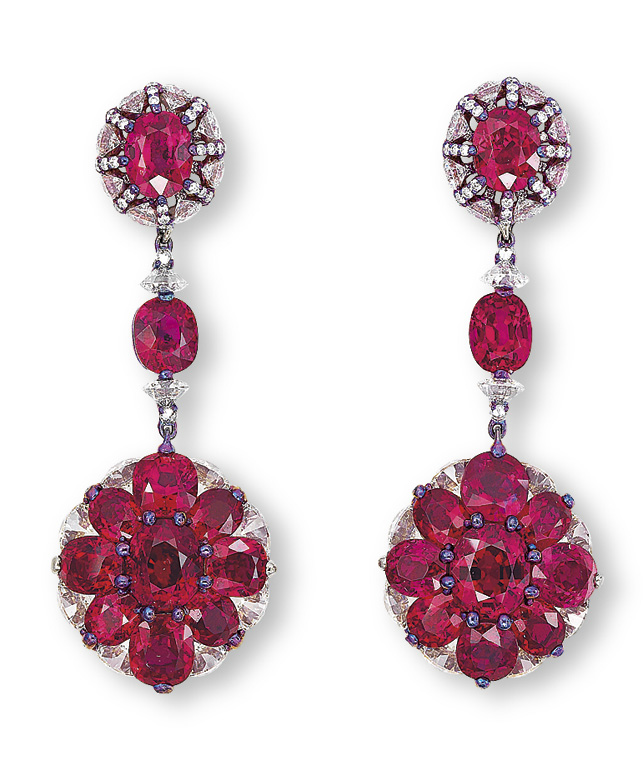 A FINE PAIR OF RUBY AND DIAMOND EAR PENDANTS, BY WALLACE CHAN